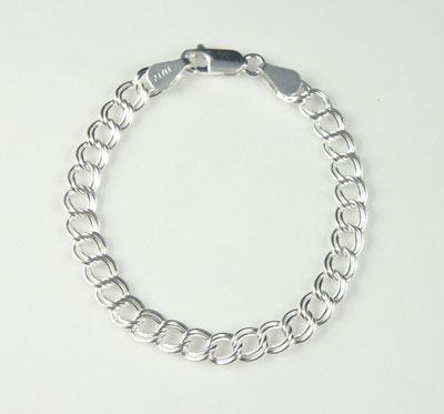 123b953cfa8b Silver Traditional Double LInk Charm Bracelet
