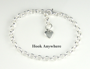 Silver Rolo Child's Charm Bracelet that adjusts