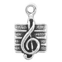 Silver tiny music note charm