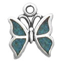 Silver tiny inlaid butterfly charm