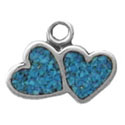 Silver tiny inlaid double heart charm