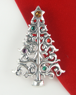 Superb Sterling Silver Christmas Tree Pin Or Pendant
