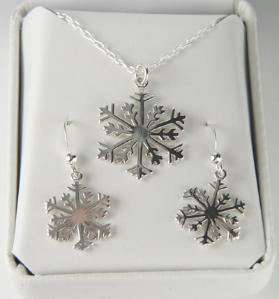 Sterling Silver Snowflake Necklace And Earrings