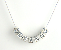 Silver Personalized Birthstone Charm Necklace