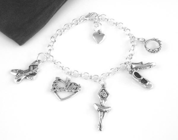 Sterling silver ballet ballerina charm bracelet