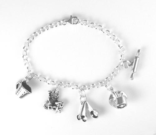 Sterling silver chef's charm bracelet