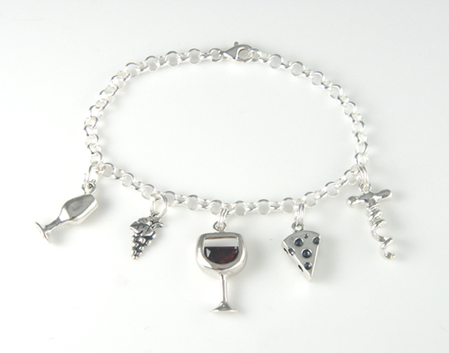 silver wine & cheese charm bracelet