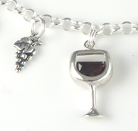 wine lovers gift wine and cheese charm bracelet